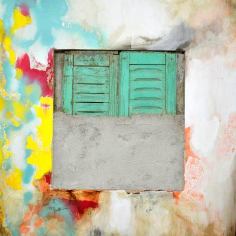 """""""Fin de cuentos"""" 160x150cm - Materiales de construcción sobre madera."""