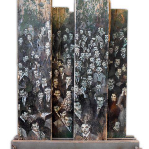 """""""Aquel encuentro"""" Óleo sobre maderas. 150 x 160cm"""