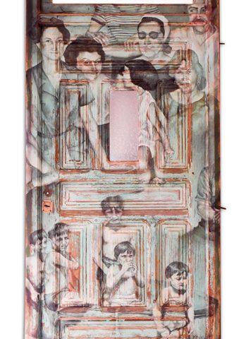 """""""Los lazos"""" Óleo sobre puerta de madera. 120 x 215cm"""